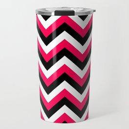 Pink White and Black Chevrons Travel Mug