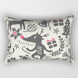 Christmas pattern with gift boxes and snowflakes. Rectangular Pillow