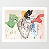 anatomical heart Art Prints featuring Anatomical Heart by Hannah Brownfield Camacho
