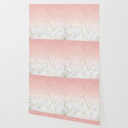 Rose Gold Glitter and gold white Marble Wallpaper