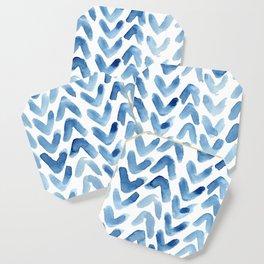 Blue Chevron Watercolour Coaster