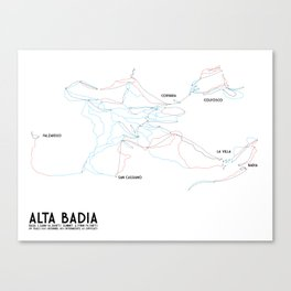 Alta Badia, ITA - EURO (Labeled) - Minimalist Trail Art Canvas Print