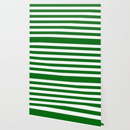 Emerald Green and White Medium Stripes Wallpaper