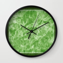 Mixed color Poinsettias 3 Outlined Green Wall Clock