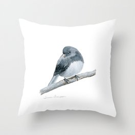 The Bashful Black-Eyed Junco by Teresa Thompson Throw Pillow