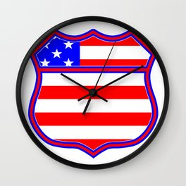 Route 66 Sign Silhouette With Flag Wall Clock