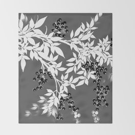 TREE BRANCHES GRAY WHITE WITH BLACK BERRIES Throw Blanket