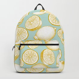 Lemons On Turquoise Background Backpack