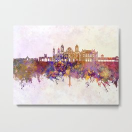 Cadiz skyline in watercolor background Metal Print