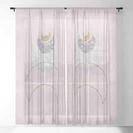 Half Moons Rising Blush Sheer Curtain