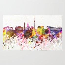 Stuttgart skyline in watercolor background Rug