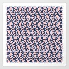 Olympic Navy on Blush Art Print
