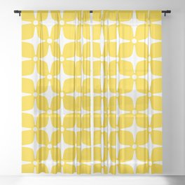 Mid Century Modern Star Pattern Yellow 2 Sheer Curtain