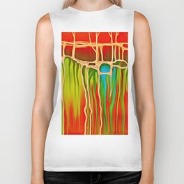 Distant Trees in Orange and Lime Biker Tank