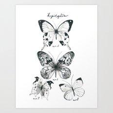 Lepidoptera Study Black & White Butterflies Art Print