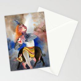 lord krishna with cow Stationery Cards