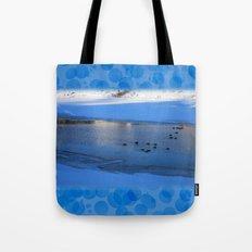 Ducks in icy waters Tote Bag