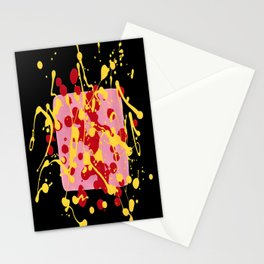 Paint Dance Pink Square Yellow Red on Black Stationery Cards
