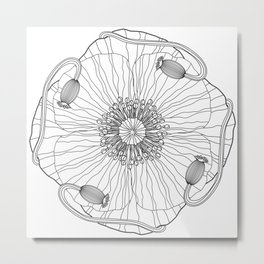 Poppy Flower Mandala - Color Your Own  Metal Print