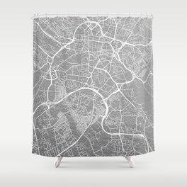 Silver Leeds map Shower Curtain