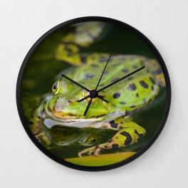 Green European Frog Wall Clock