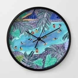 Midnight jungle pool Wall Clock