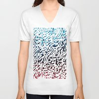 arabic V-neck T-shirts featuring Arabic Typography by Sarah Sallam