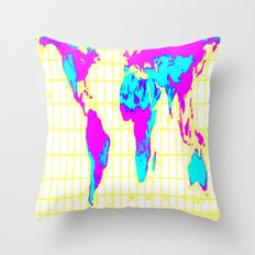 World Map: Gall Peters Colorful Throw Pillow