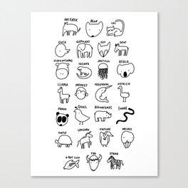 Animal Alphabet Canvas Print