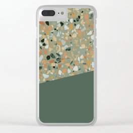 Terrazzo Texture Military Green #4 Clear iPhone Case