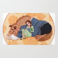 beauty and the beast Area & Throw Rugs featuring Beauty and the Beast by Naineuh