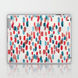 Watercolor Ovals - Red, Blue & Cream Laptop & iPad Skin