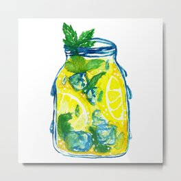 Watercolor - Iced Lemon Mint Tea Metal Print