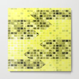 Abstract Yellow Arrows Pattern Metal Print