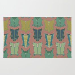 18th Century Corset Stays Illustrated Pattern Print Rug