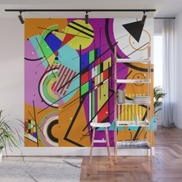 Crazy Retro 2 - Abstract, geometric, random collage Wall Mural