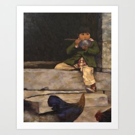 Little Boy and Bowl of Soup Art Print