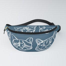 Blue and White Silly Kitty Faces Fanny Pack