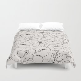 Floral Simplicity - Neutral Black Duvet Cover
