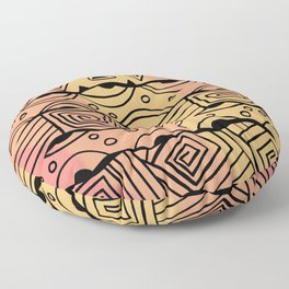 Wavy Tribal Lines with Shapes - Orange - Doodle Drawing Floor Pillow