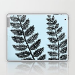 Black Lace Fern Powder Blue Laptop & iPad Skin