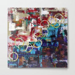 Bouncing Balls in the City: Abstract Acrylic Painting with circular motif highlight. Metal Print