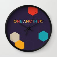 scripture Wall Clocks featuring One Another Scripture Poster (1 John) by Jess Creatives