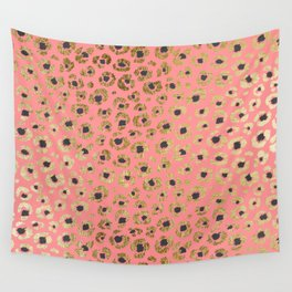 Chic Faux Gold and Black Cheetah Print on Coral Wall Tapestry