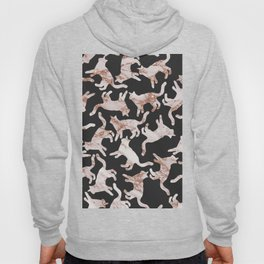Abstract black rose gold glitter marble cat pattern Hoody
