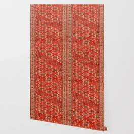 Southwest Shapes I // Bright Colorful Red Orange Green Creme Ornate Southwestern Tuscan Rug Pattern Wallpaper