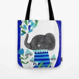elephant with raindrops in blue watercolor illustration Tote Bag