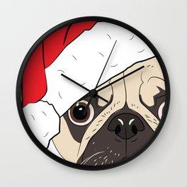 Christmas pug, festive dog vector Wall Clock