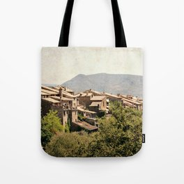 Little vintage town between forest and mountain Tote Bag