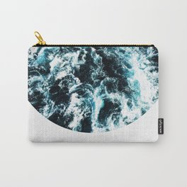 Free Like The Sea, digital collage, ocean waves, seascape, geometric nature, minimalist print, quote Carry-All Pouch